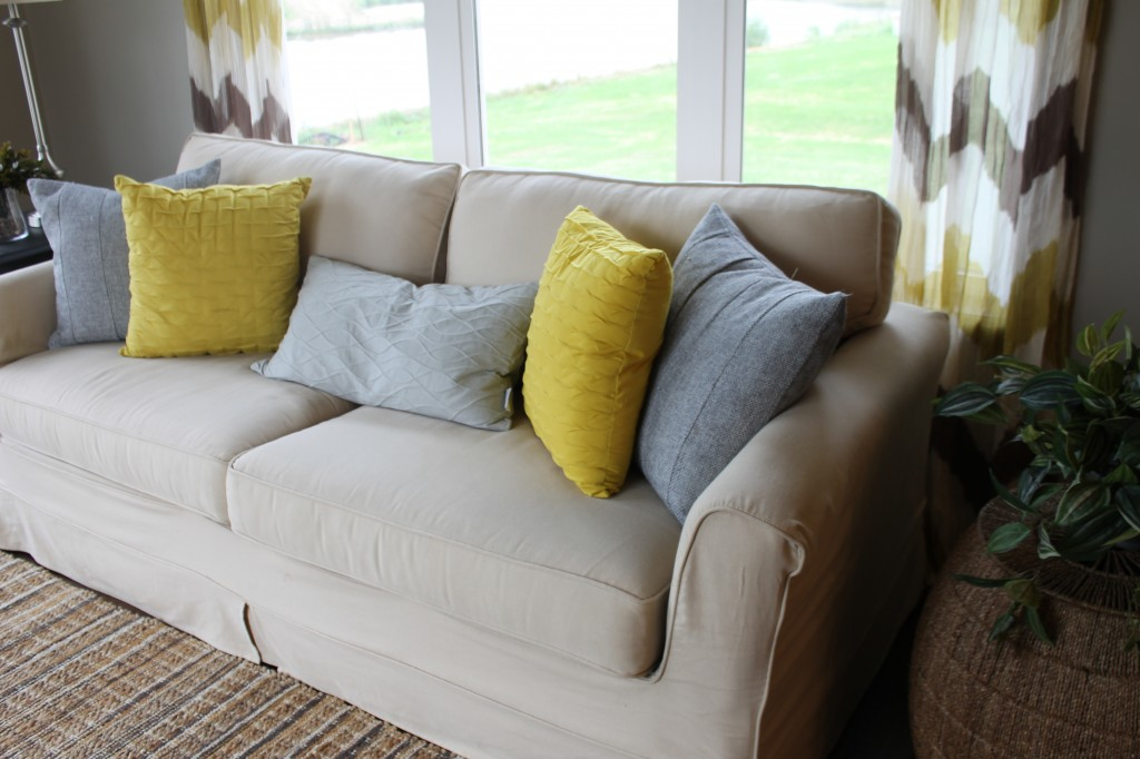 yellow and gray sunroom pillows
