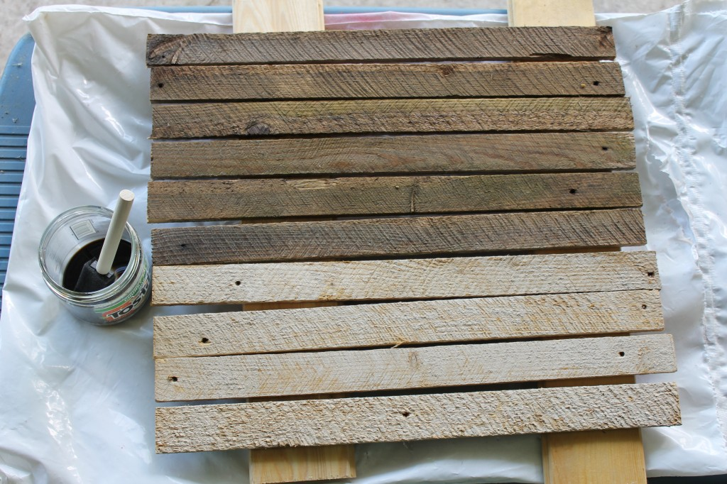 starting to stain lath