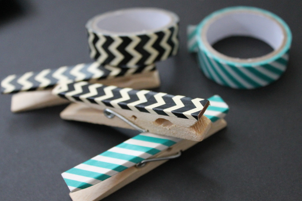 clothespins with wasabi tape