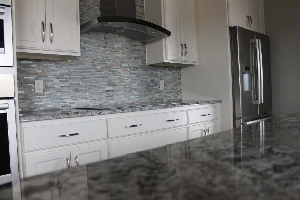 grey granite white kitchen