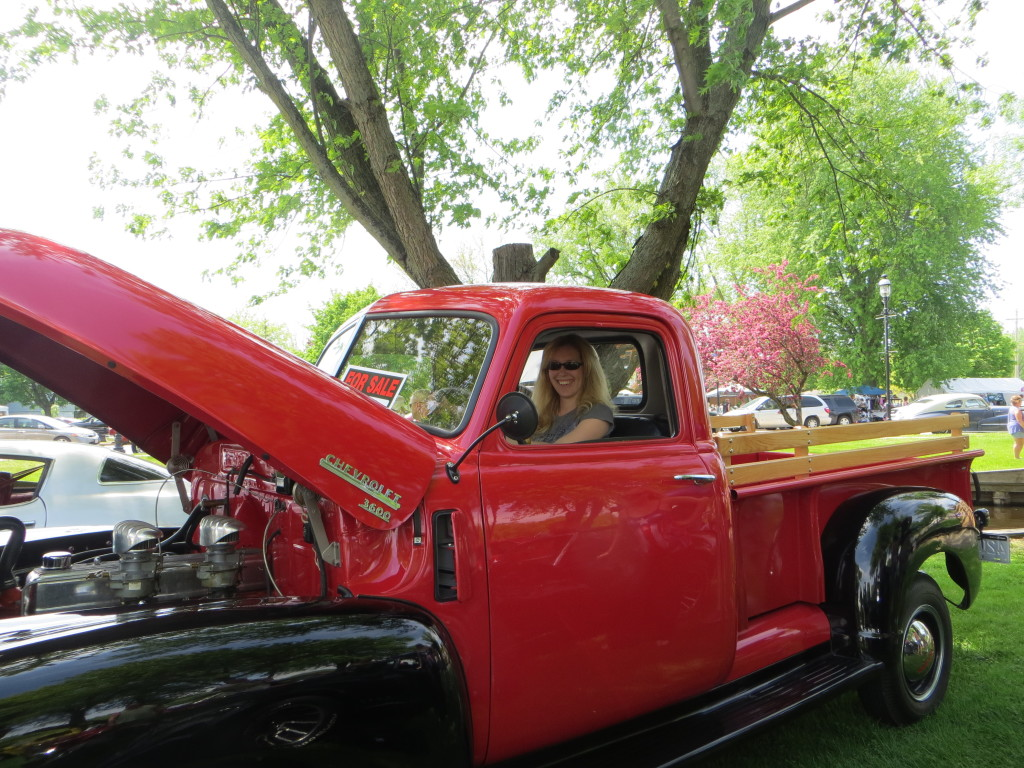 me in truck at omro car show