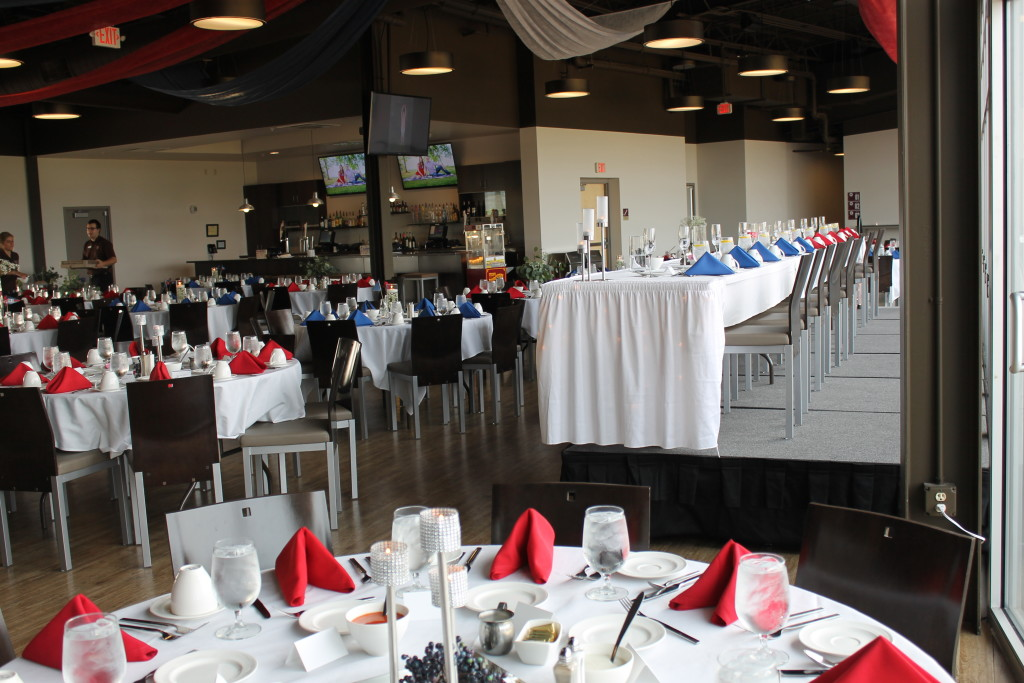 red white and blue wedding set-up