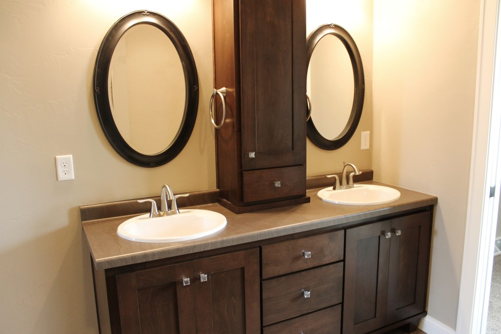 Meyer double vanities with framed mirrors