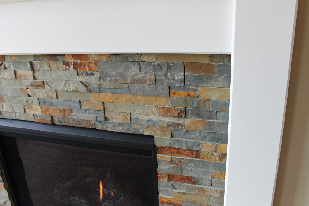 Meyer fireplace slate stone with white mantle