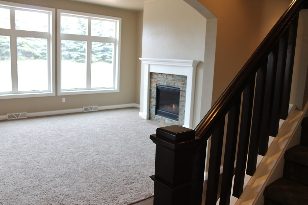 Meyer open rail with fireplace view