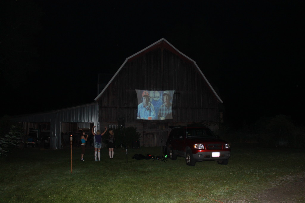 movie screen at 90's party