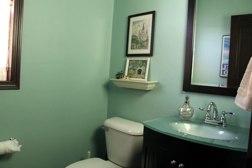 jade colored half bath at mitchells