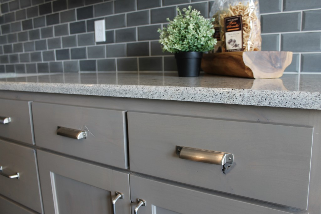 beechwood kitchen with rustic stain and bin pull hardware