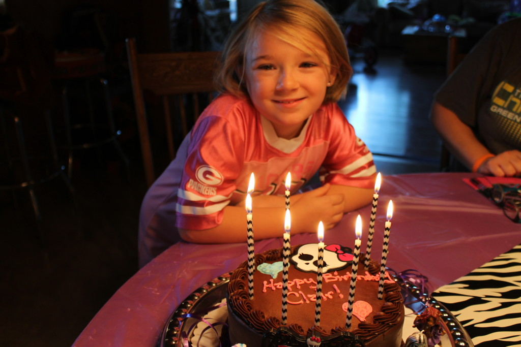 clair and her monster high cake 2015