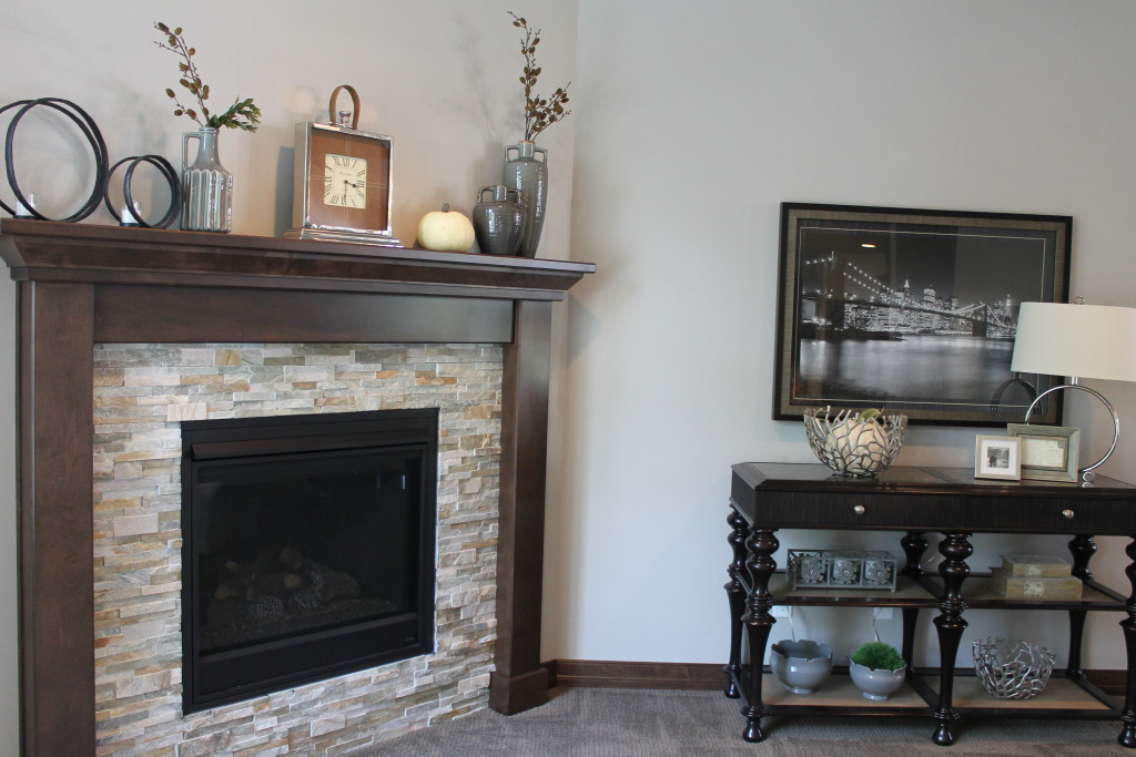 corner fireplace with decored side table