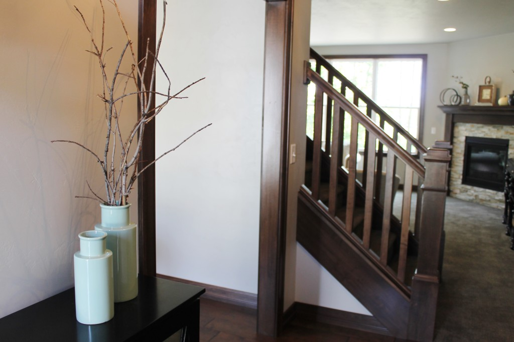 open railing and foyer console