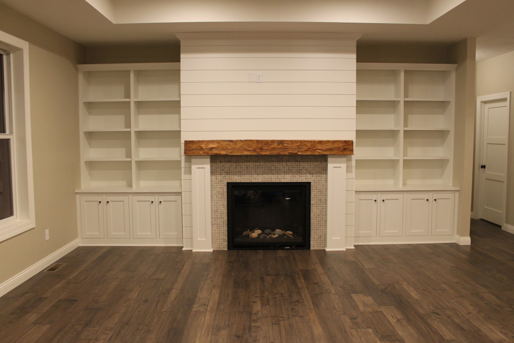 shiplap fireplace surround with built-ins