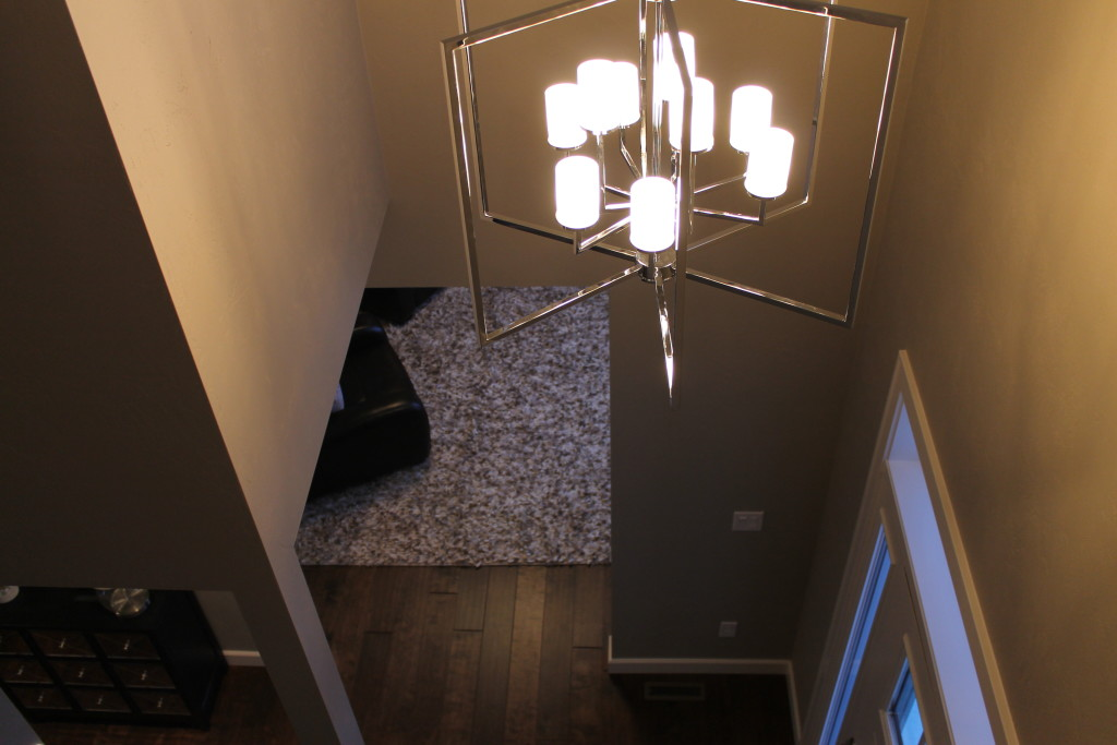 modern light fixture with chrome arms