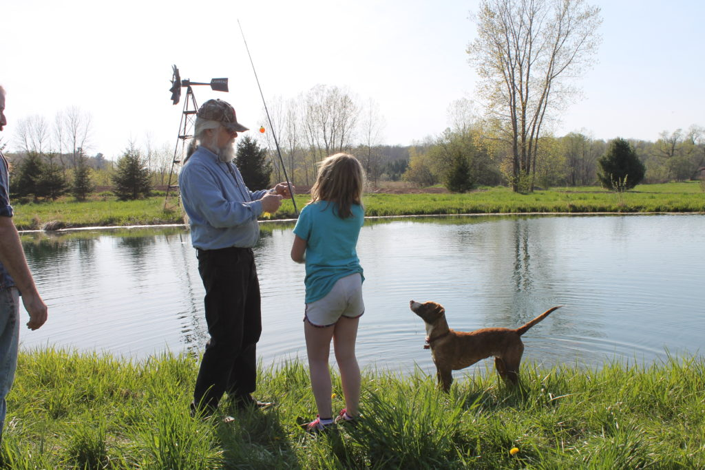 fishing on mothers day2016 dad, clair and lucy