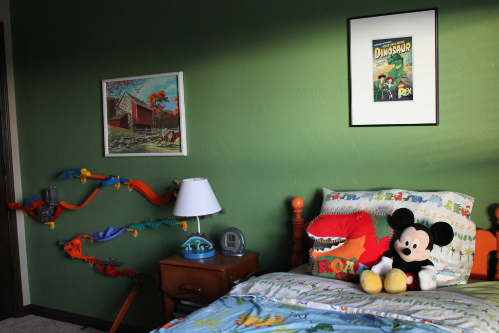 kids room with race track on wall mitchell color story