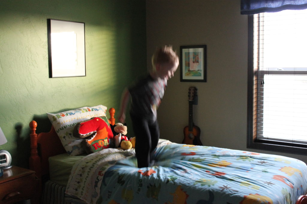 mithell kids room jumping on bed
