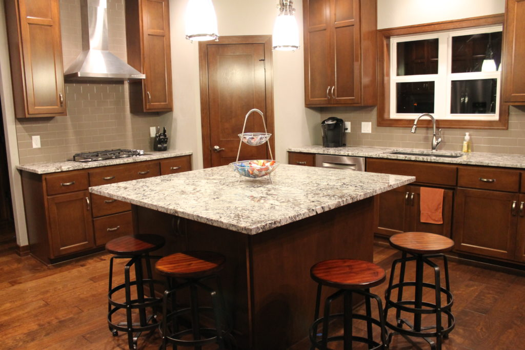 stained cabinets with square island Miller