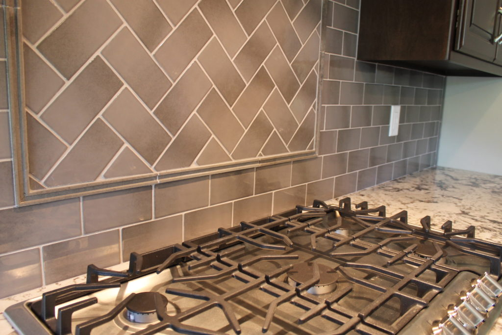 backsplash tile herringbone pattern with pencil tile