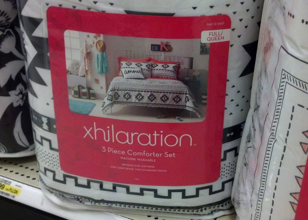 bedding option for camper black and white aztec print