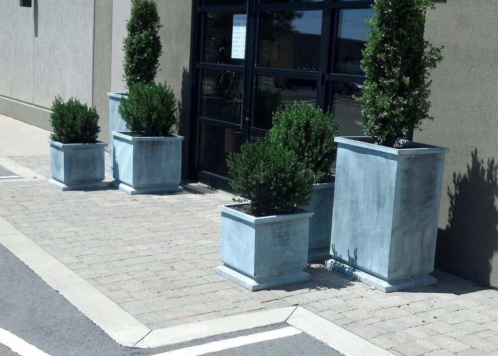 galvanized exterior pots at august haven in green bay