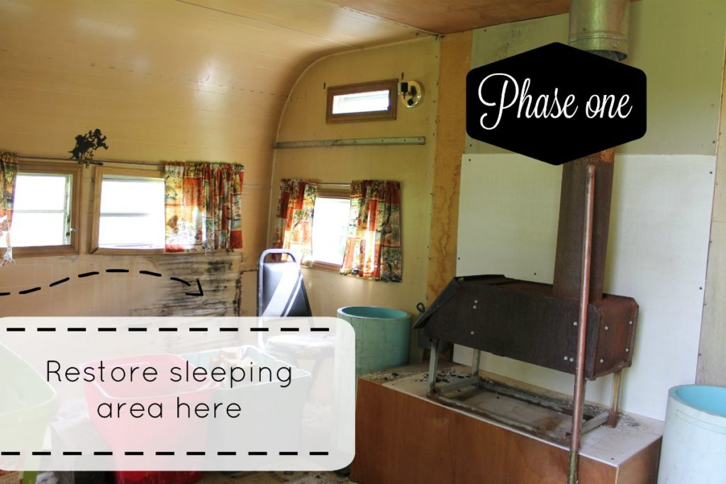 inside the camper before sleeping area phase one