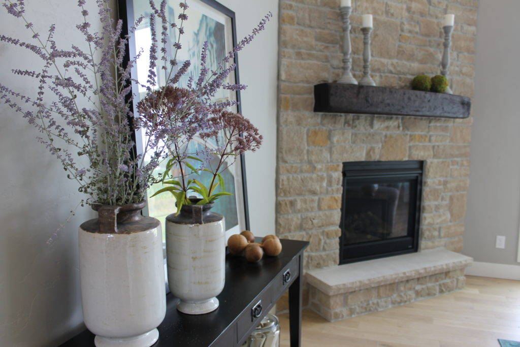 fresh cut flowers with fireplace parade house aug2016