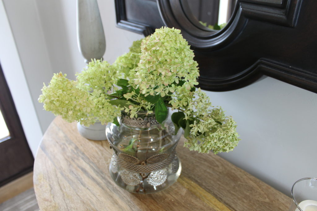 fresh flowers on your entrance table