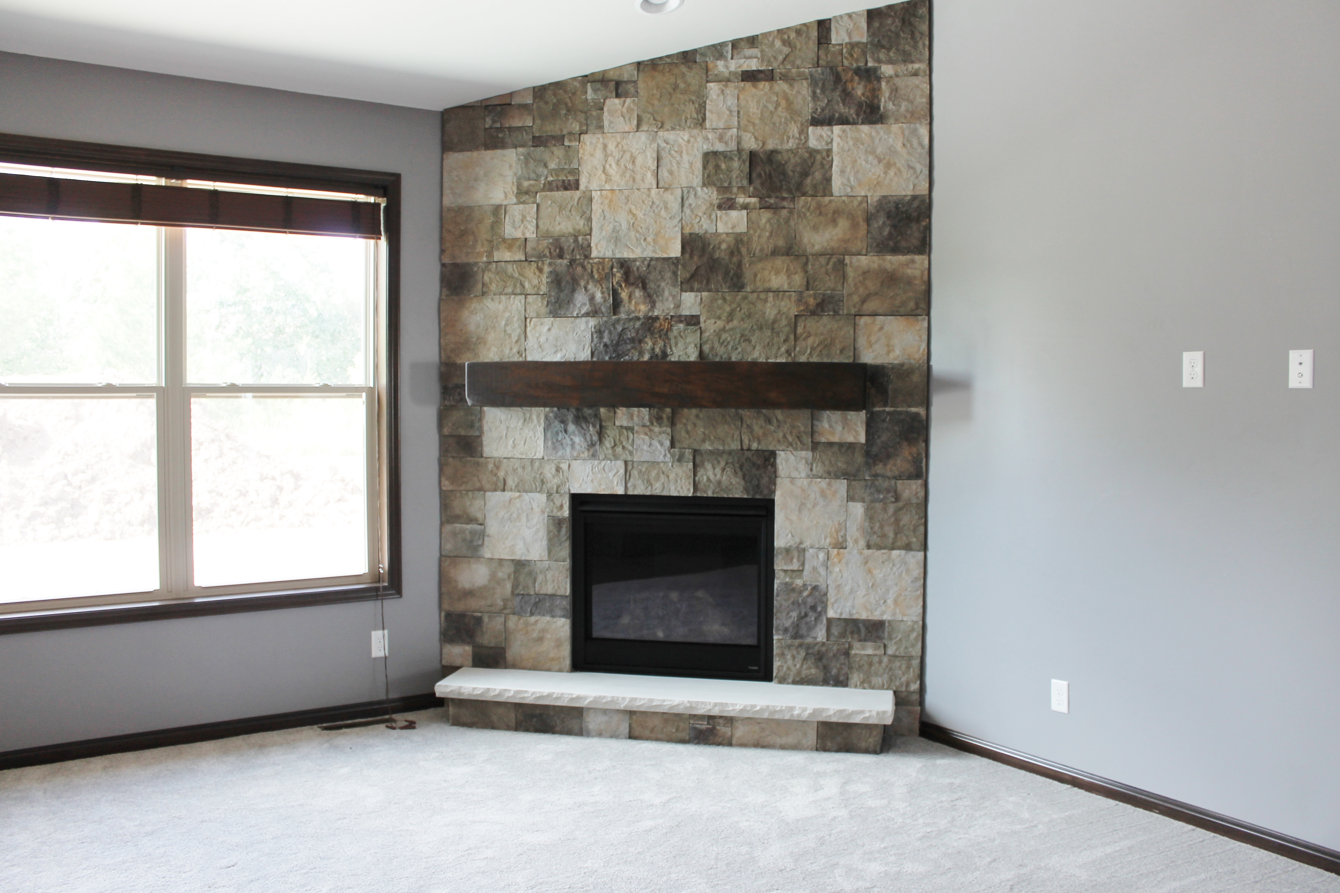 Fireplace designs and the rustic mantel trend katie for Floor hearth